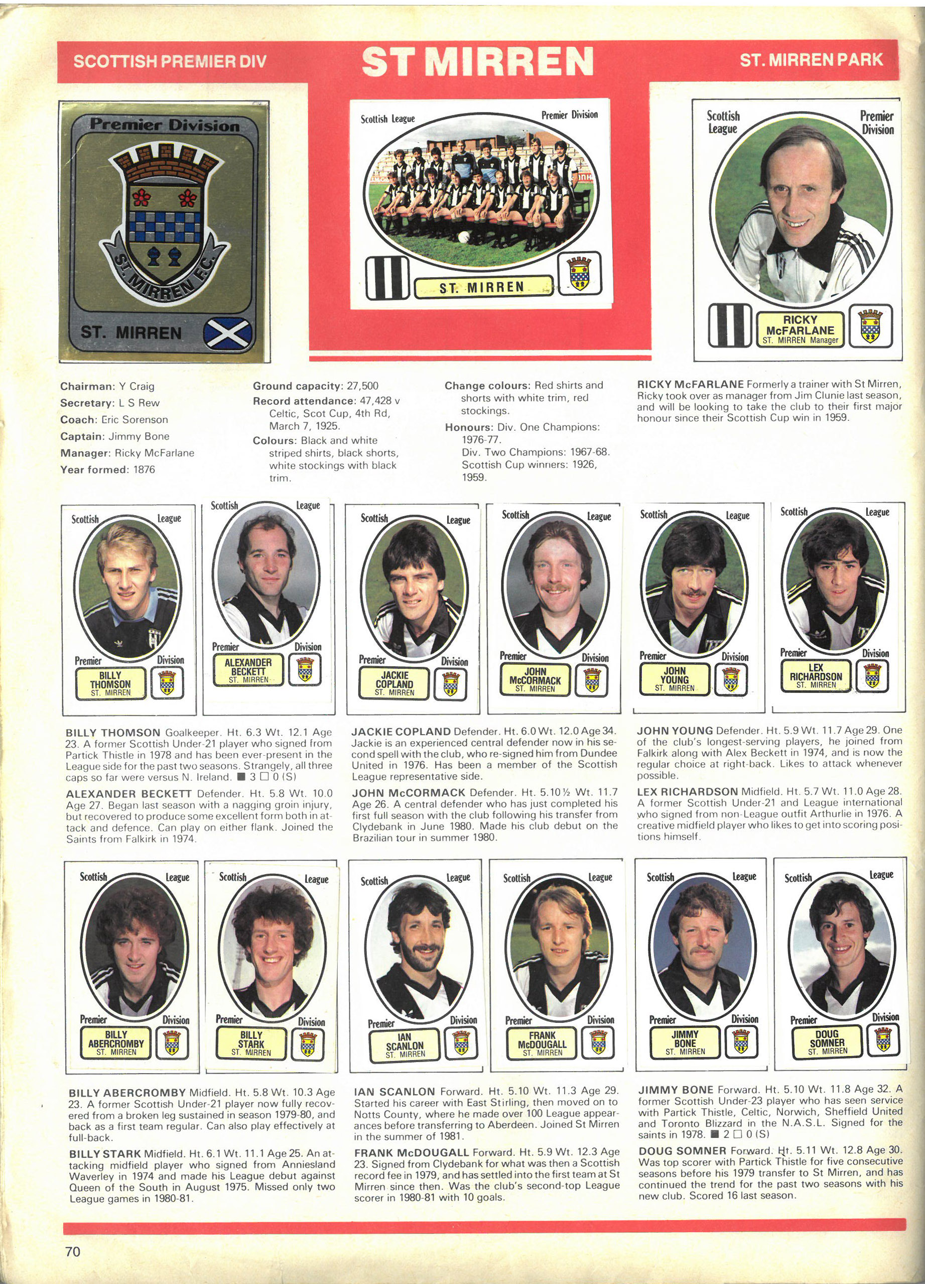 St Mirren 1982